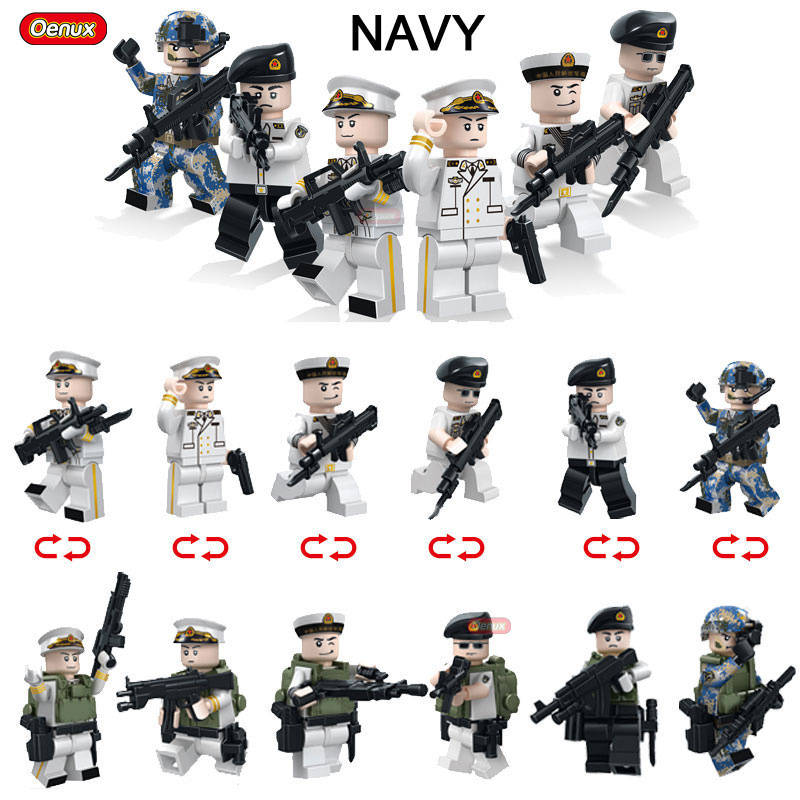 Oenux WW2 The Pacific War Model Bricks 6PCS Mini Military US Navy Figures Building Block Set With Weapons DIY Toys For Kids Gift 12pcs set children kids toys gift mini figures toys little pet animal cat dog lps action figures