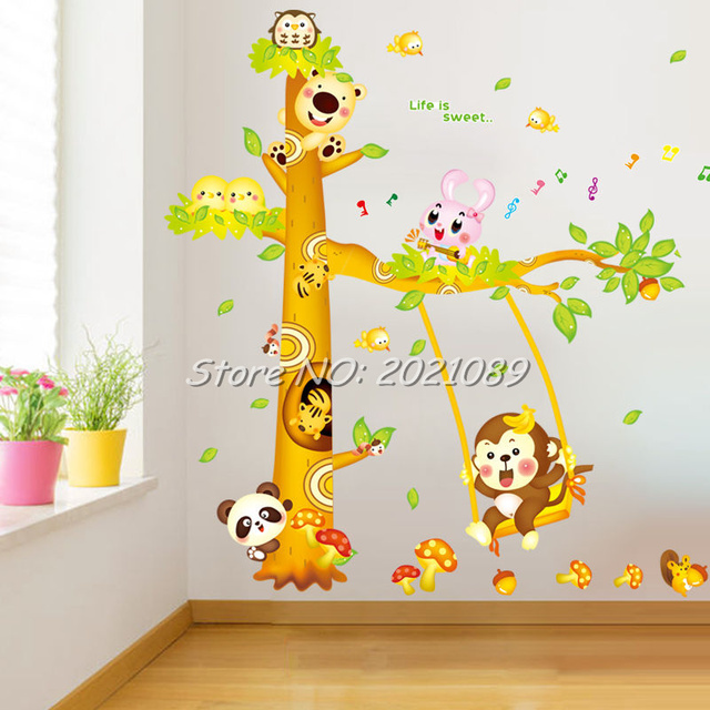Jungle Animal Monkey Vinyl Tree Wall Stickers 2016 Home Decor Funny ...