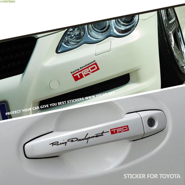 Trd design bumper car stickers fashion refit vinyl car door handle stickers and decals for
