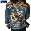 Mujeres Tigre Bird Modelo Animal de la Flor de Mariposa Del Bordado Denim Chaqueta Turn Down Collar jeans Outwear Alta Calidad