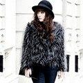 New winter female faux fur coats Offbeat extra long fox fur luxury overcoat Girl's fashion black tassel outwear Large size women