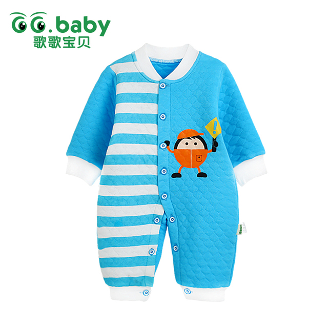 2017 Novo Roupas de Inverno Menino Manga Longa de Algodão Do Bebê Recém-nascido Da Criança Roupa Do Bebê Romper Quente Dos Desenhos Animados Macacão de Bebê Meninos Pijama