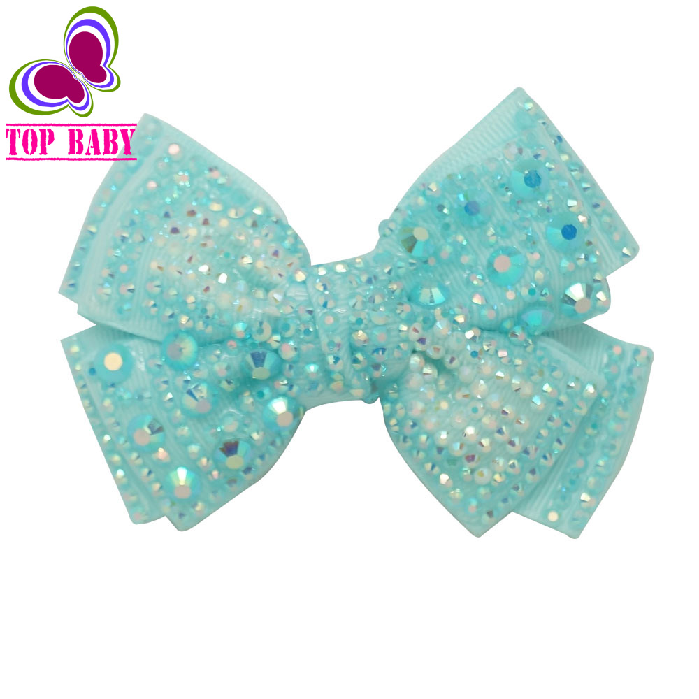 "4""Grosgrain Ribbon Hair Bow With Rhinestone Lovely Bling Hair Bows With Hair Clips For Girls Hair Accessories Party 2Pcs/lot(China (Mainland))"