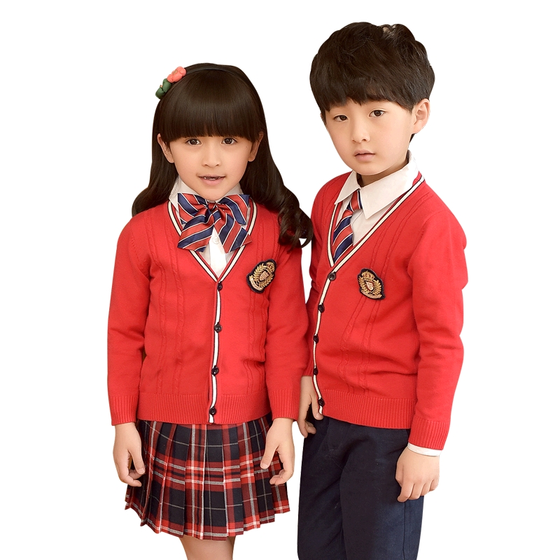 School Uniforms School Children Autumn Clothing Cardigan Sweater Costume Cotton Suit Boys Girls V-neck School Uniform 2-10T