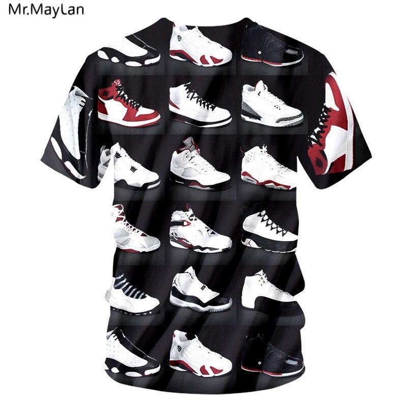 Cool JORDAN 23 Classic Shoes 3D Printed T-shirts Hip Hop Funny Mens T Shirt Summer Pure American Special Cut Tees Tshirt Homme
