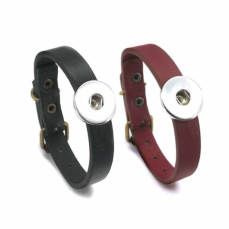 New arrival 308 Really Genuine Leather Retro Fashion Bracelet Bangle Fit 18mm Snap Button Charm Jewelry For Women Teenagers Gift