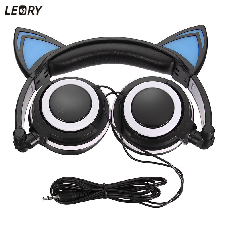 LEORY Foldable Cat Ear Headphones Flashing Glowing LED Headphone With Microphone For iPhone Gamer Headset 3.5mm For PC Computer foldable cat ear headphones gaming headset earphone with glowing led light for phone computer best halloween gift for girls kids