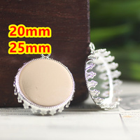 20mm 25mm 100pcs Silver Blank CROWN Pendant With Hanger Trays Bases Cameo Cabochon Setting For Glass
