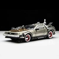 Welly Back To The Future Car 1:24 Diecast Car Part 1 2 3 Time Machine DeLorean DMC 12 Model Cheap Kid Children Car Model Toys