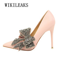 ladies Butterfly knot shoes woman extreme high heels wedding shoes pumps salto alto famous brand bigtree shoes sexy high heels