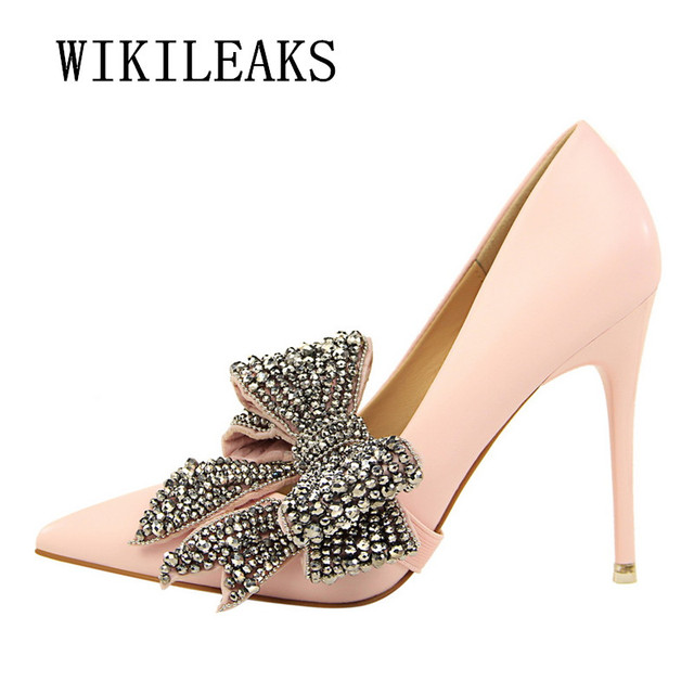 105da935d09 ladies Butterfly-knot shoes woman extreme high heels wedding shoes pumps  salto alto famous brand bigtree shoes sexy high heels