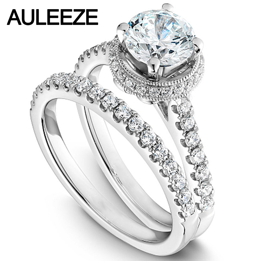 Modern Halo Round 1 Carat Moissanites Bride Wedding Ring Set Solid ...