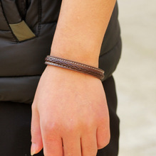 Titanium Stainless Steel Bracelets & Bangles Fashion Punk Braided Leather Bracelet Men Jewelry Pulseira Masculina 20cm