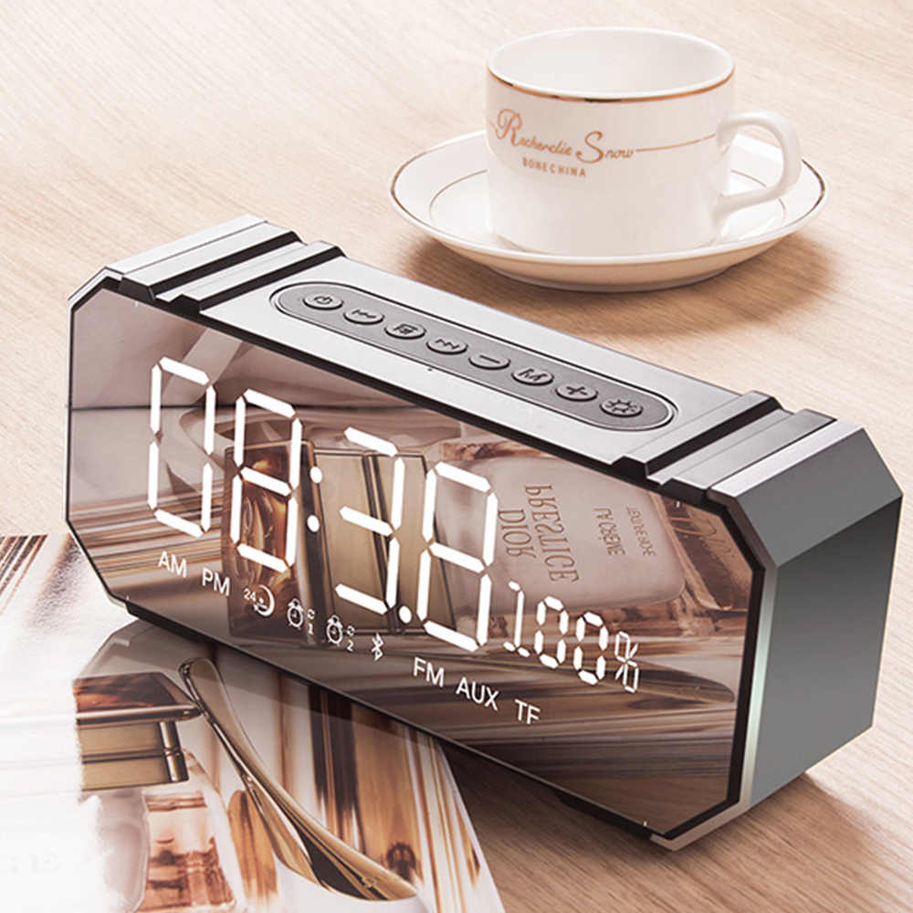 JY Audio LED Alarm Clock Portable Bluetooth Speakers Wireless Stereo Support AUX TF Radio FM USB MIC for iphone xiaomi Computer