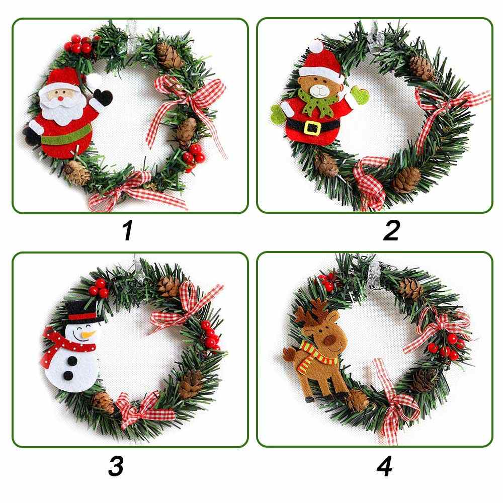 Christmas Wreath Window Door Hanging Ornaments Beautiful Elegant Xmas Garland Pendant Christmas Tree Wreaths