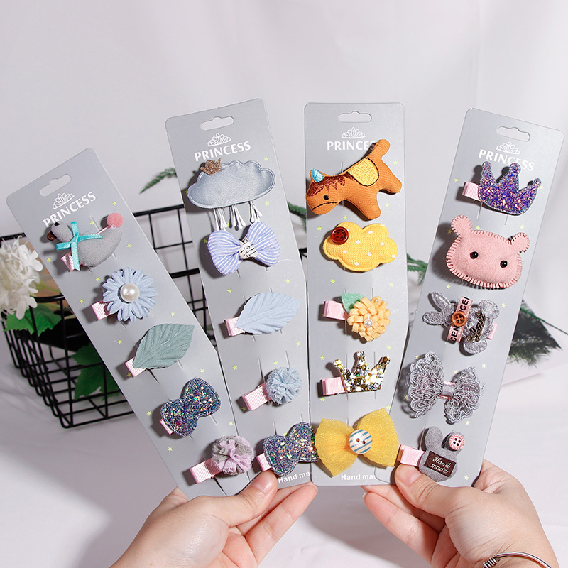5PCS/Lot Handmade Exquisite Cartoon Girls Hairpins Princess Barrettes Cute Baby Hair Clips Headbands Headwear Hair Accessories hot 6 colors 1pc girls lovely cat ear hairpin cute barrettes hairclips headwear hair accessories
