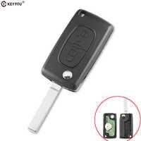 KEYYOU 2 boutons Flip télécommande clé CE0523 pour Peugeot 306 407 807 partenaire VA2 lame 433Mhz PCF7941 carte électronique