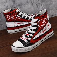 Japanese Animation Tokyo Ghoul Hand-painted Graffiti High-top Canvas Shoes Man Women Couple Leisure Casual Vulcanize Shoes стоимость