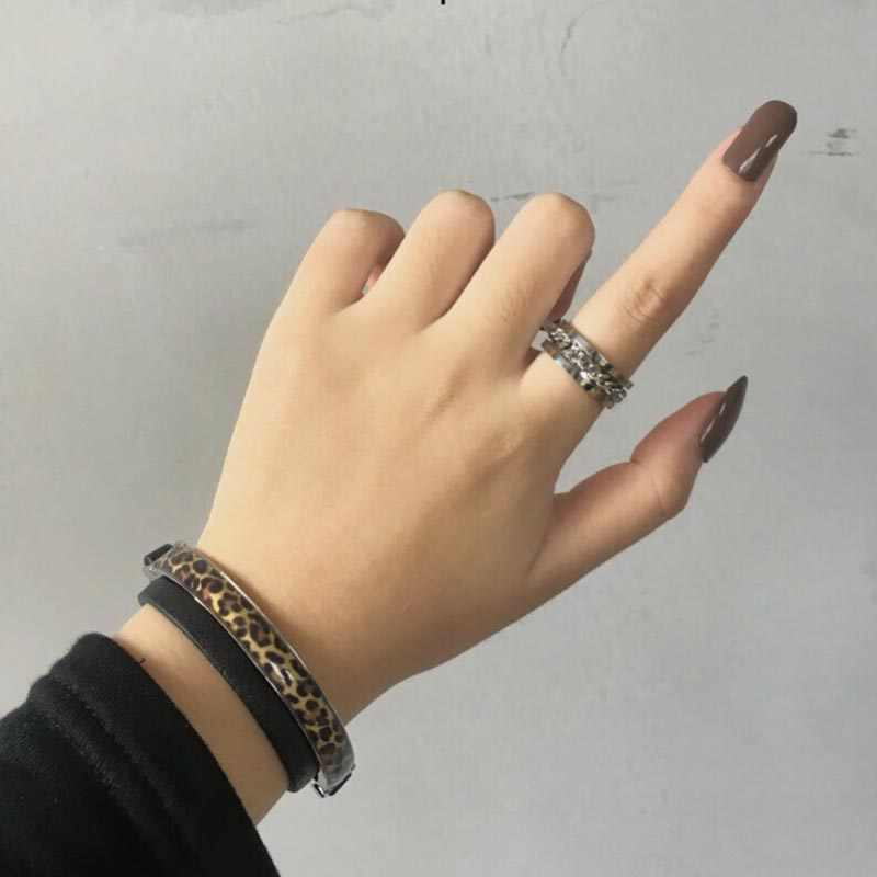 Personality Jewelry Punk Rock Men Spinner Ring Titanium Stainless Steel Gold Black Chain Rotable Rings For Women Gift