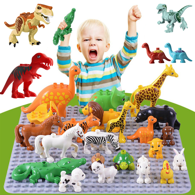 Zoo Animal Dinosaur Building Blocks Original Classic Bricks Accessory Kids Toys Compatible with Big Size Block Panda Elephant(China)