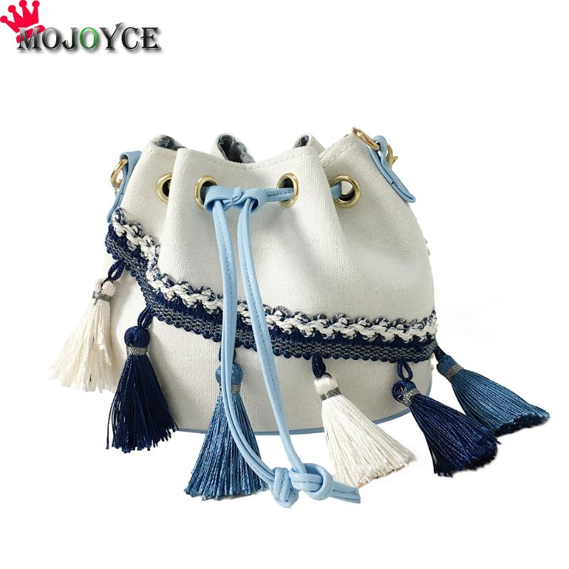 Canvas Drawstring Bucket Bag Chains Shoulder Handbags Women's Vintage Messenger Bags Bolsa Feminina Bolsos