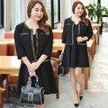 Duas peças dress preto plus size 4xl mulheres vestidos de lantejoulas jaqueta e tanque dress escritório kate middleton vestidos kleider 0445-215