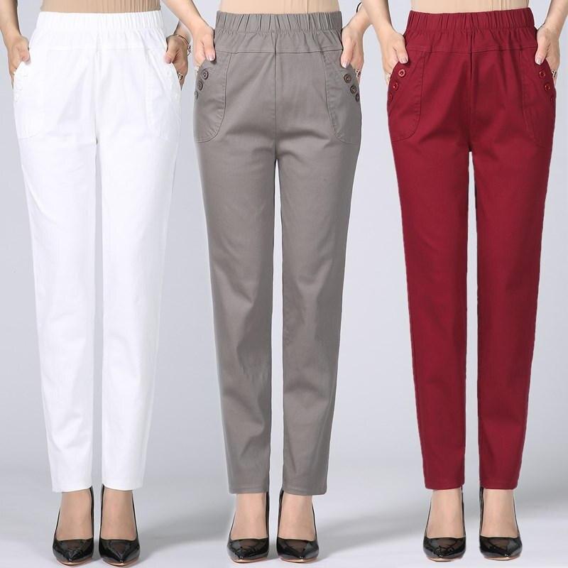 Plus Size 5XL Straight Women Pants Casual Stretch Cotton Trousers Women Pantalon Femme Work Office Ladies High Waist Pants C4315