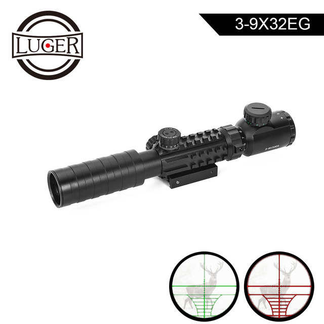 LUGER 3-9x32 EG Hunting Scope Red Green Dot Illuminated Tactical Riflescope Fit 11/20mm Picatinny Rail Mount For Airsoft Gun