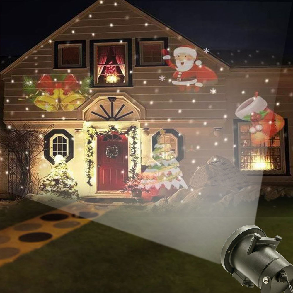 12 Patterns Halloween Decoration Projector Light Outdoor Garden Waterproof Lawn snowflake Landscape lamp Christmas Holiday Party 12 type rgb led snowflake projector light garden landscape light lawn lamp christmas light outdoor holiday decoration spotlight