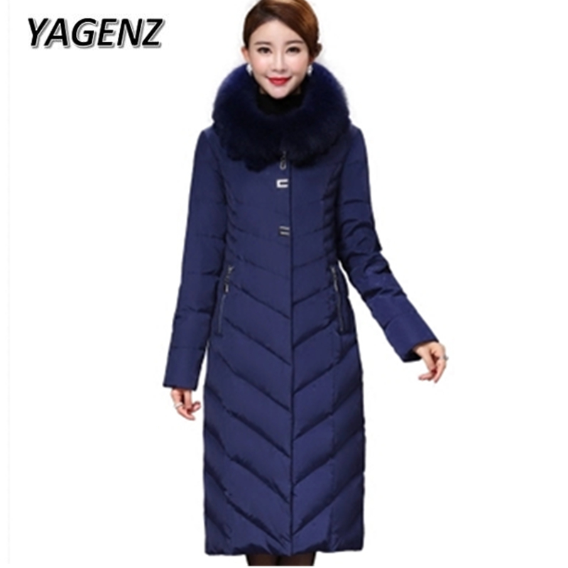 2018 Women Winter Hooded Warm Coats High-end Fox fur collar Mother Slim Long outerwear Large size Casual Down Jacket Female 5XL 100% white duck down women coat fashion solid hooded fox fur detachable collar winter coats elegant long down coats