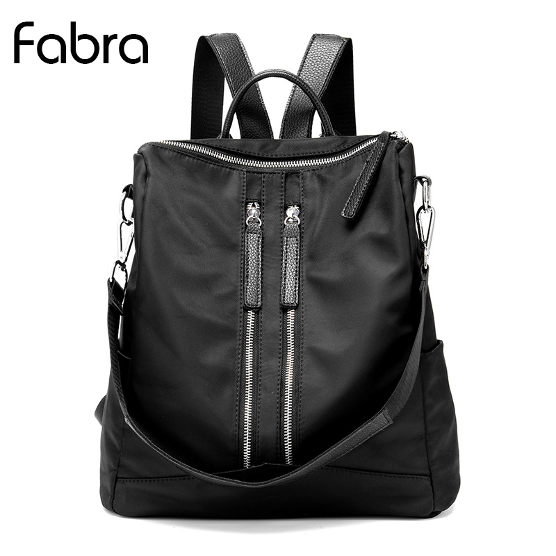 Fabra Women Backpack Black Waterproof Nylon 13 Inch Laptop Backpacks Bookbag Women Shoulder Bags Daypacks Men School Backpack