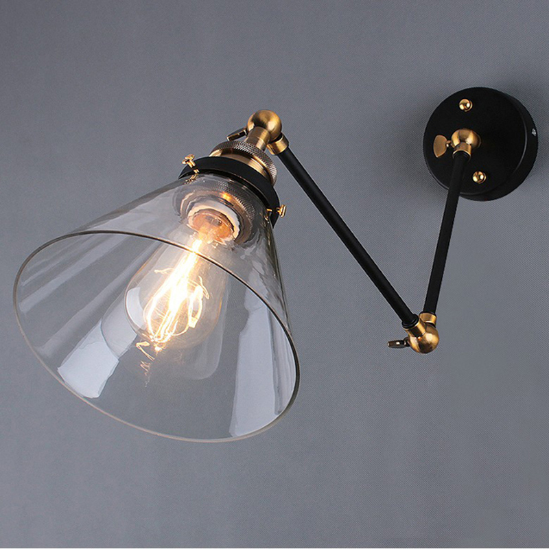FREE SHIPPING Retro Loft Style Industrial Vintage Wall Light Lamp Edison Wall Sconce Lamparas De Pared Taper Metal rural style wall lamp vintage wall lamp edison wall light contains edison bulbs free shipping