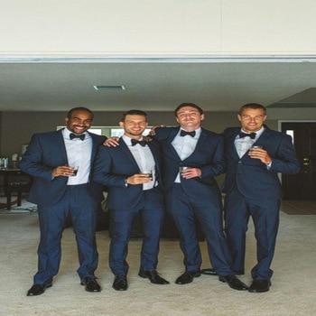 2017 two Piece (Jacket+Pants+Bow) Suit Groom Wedding Notched Lapel Tuxedos Wear Plus Size Best Man Suits Sets Navy Blue