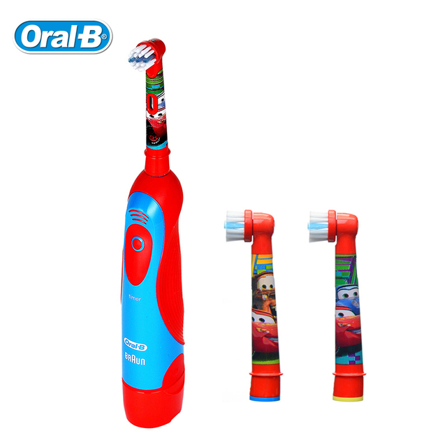 Oral B Children Electric Toothbrush DB4510K Pixar Cars Waterproof Battery Toothbrush + 2 Rechangeable Brush Heads for Boys