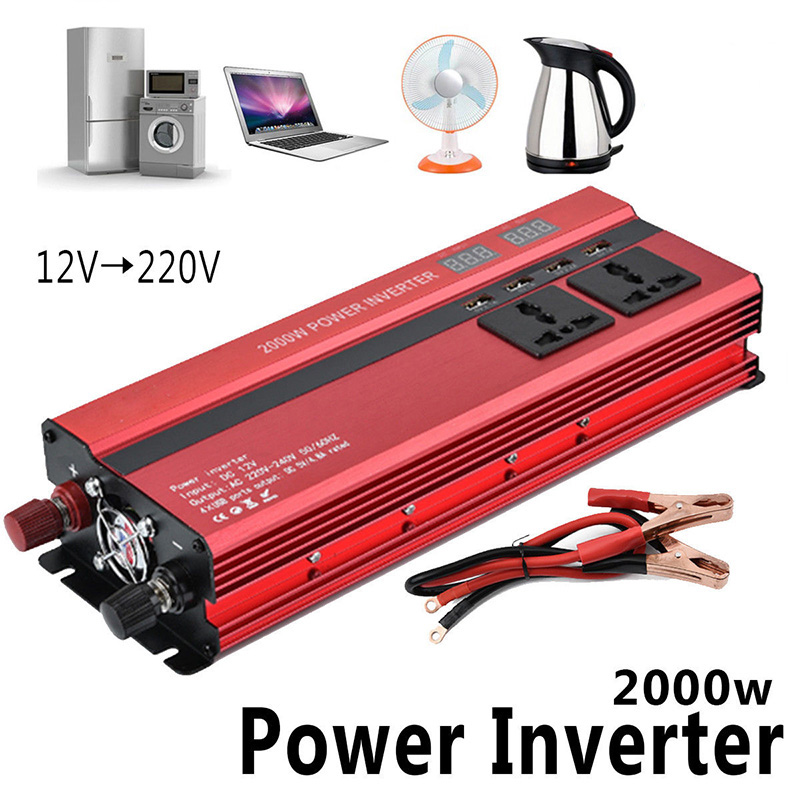 2000 W Auto LED <font><b>Inverter</b></font> 12 v 220 v Konverter DC 12 v zu 220 v 4 USB Ports Ladegerät veicular Auto Power <font><b>Inverter</b></font> Dual Display <font><b>Inverter</b></font> image