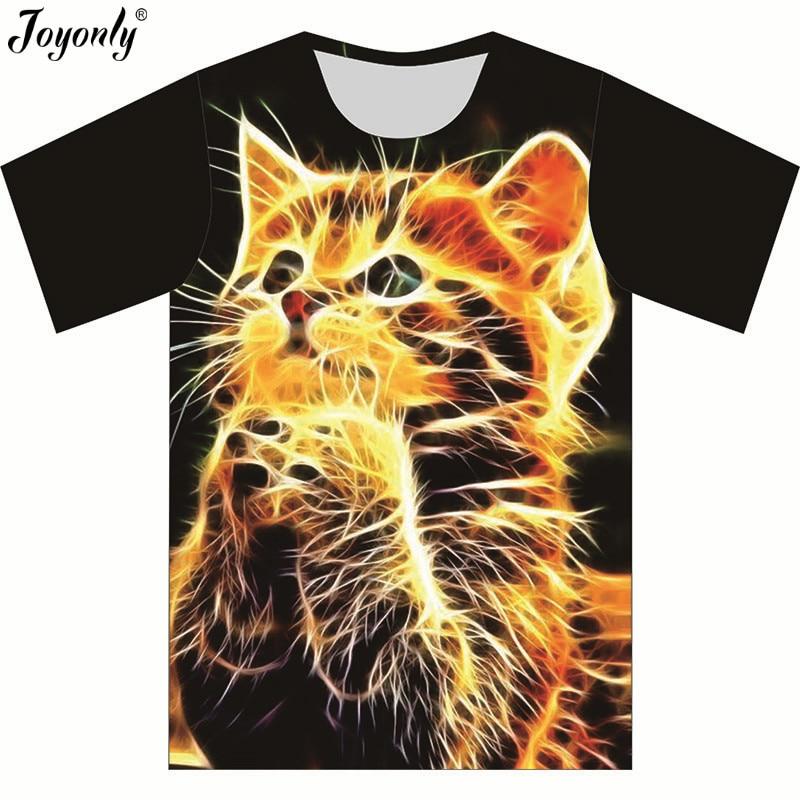 Joyonly 2018 Summer Children 3D T-shirt Boys Girls High Quality T shirts Snow Glittering Cool Cat Funny tshirt Tops Tees Shirts женская футболка angela 3d t shrit 2015 o tshirt 34 kl