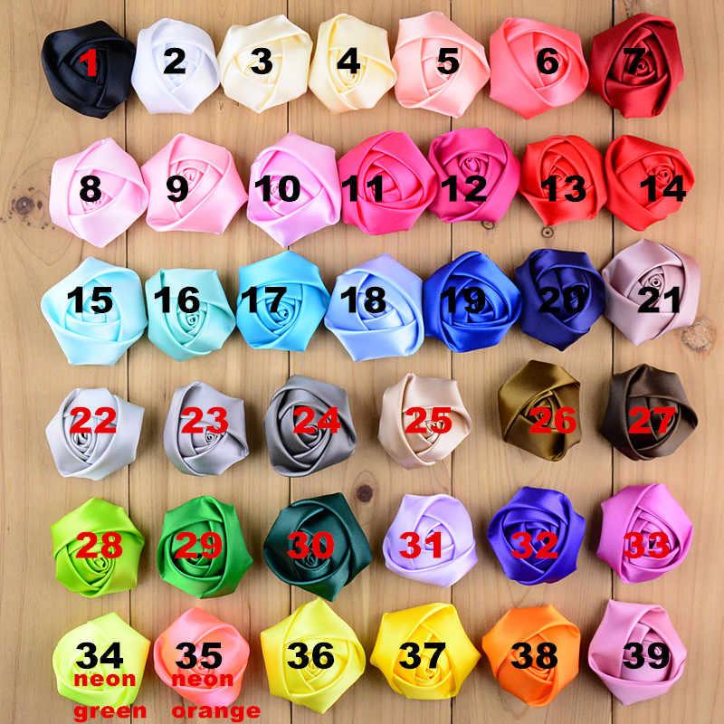 20 unids/lote 2 pulgadas cinta de satén grande flor Rosa 39 colores U elegir roseta suave hecha a mano uso en ramillete de ropa ramo de la boda de TH07