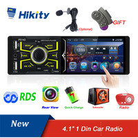 Hikity Autoradio 1 din Car Radio 4.1 Inch Touch Screen Car Stereo Multimedia MP5 Player Bluetooth RDS Dual USB Support Micphone