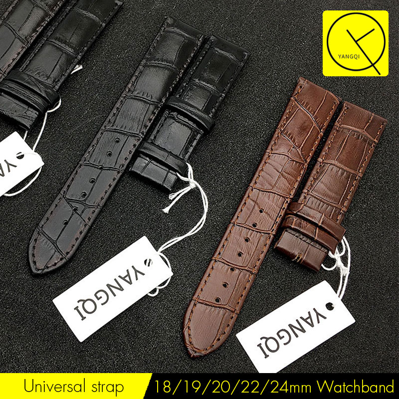 YQ Watchband 18/19/20/22/24mm Watch Bracelet Calf Leather Strap for all Watch Strap Bracelet Man Woman Black Brown with Tools survival nylon bracelet brown