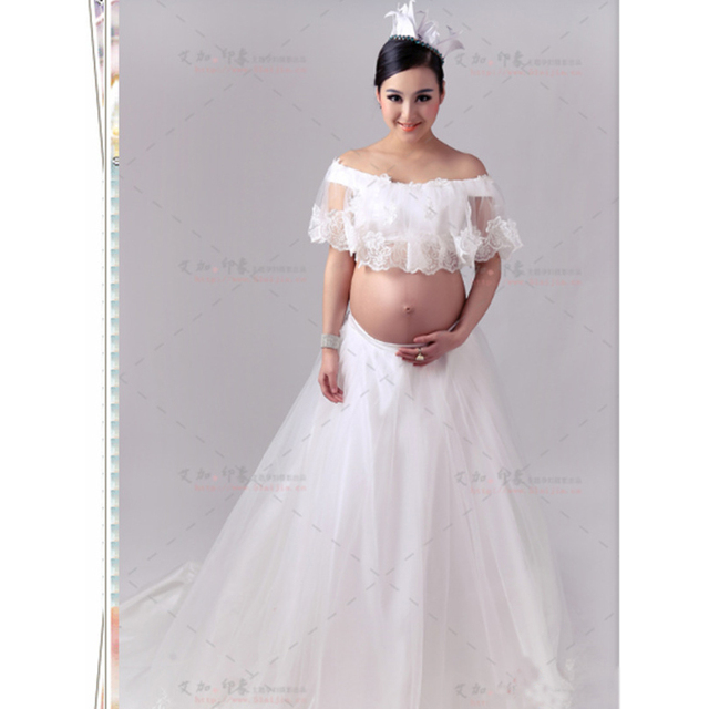 Maternity Lace Gown Free Size Stretch Lace Maternity Photography ...