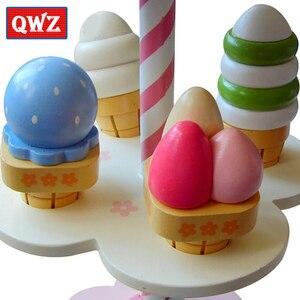 Image 2 - Qwz sorvete magnético de brinquedo do bebê, simulação de brinquedos magnéticos, brinquedos de madeira para fingir, cozinha, bebê, brinquedos infantis para aniversário e natal