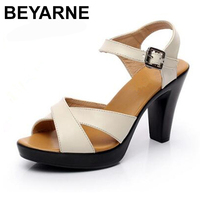BEYARNE Summer shoes high heeled sandals 2018 new genuine leather shoes Fashion sandals comfortable women shoes summer sandals