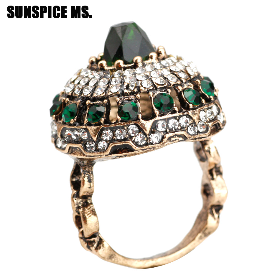 Crystal Rings Antique Stones Wedding-Jewelry Round Gold-Color Women for Gifts MS SUNSPICE