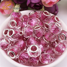 50Pcs/Lot New Cut Faceted Powder Glitter Round Glass Resin Murano Beads Charms Fit DIY Pandora Bracelet For Jewelry Making