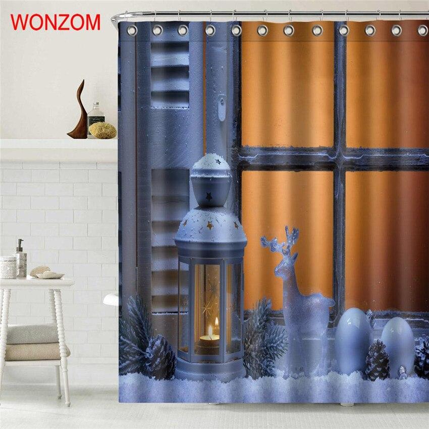WONZOM Christmas Waterproof Shower Curtain Bathroom Decor Santa Claus Decoration Cortina De Bano 2018 Curtains for bathroom Gift