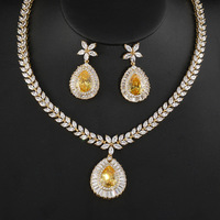 Fashion Jewelry Gold Color Zircon Water Drop Shape Necklace Earrings For Women Bridal Wedding Jewelry Sets