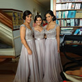 Bridesmaid Dresses Appliques Spaghetti Straps Sleeveless A Line Lace-up Floor Length Stock Chiffon Formal Dress