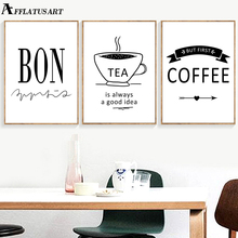 Bon Tea Coffee Quotes Nordic Posters And Prints Wall Art Canvas Painting Black White Pictures For Living Room Shop