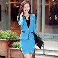 2016 новинка весна осень женщин костюм комплект конфеты цвет с длинным рукавом блейзер пальто Большой размер одной кнопки моде блейзер устанавливает