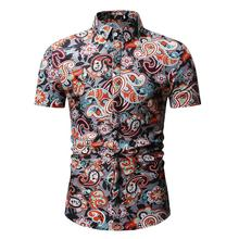 Hawaiian Shirt Mens clothing dress Shirts Beach style Summer Floral Flower Blue Dark brown